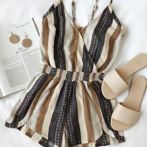 Lulus Brenda striped wrap front sleeveless romper